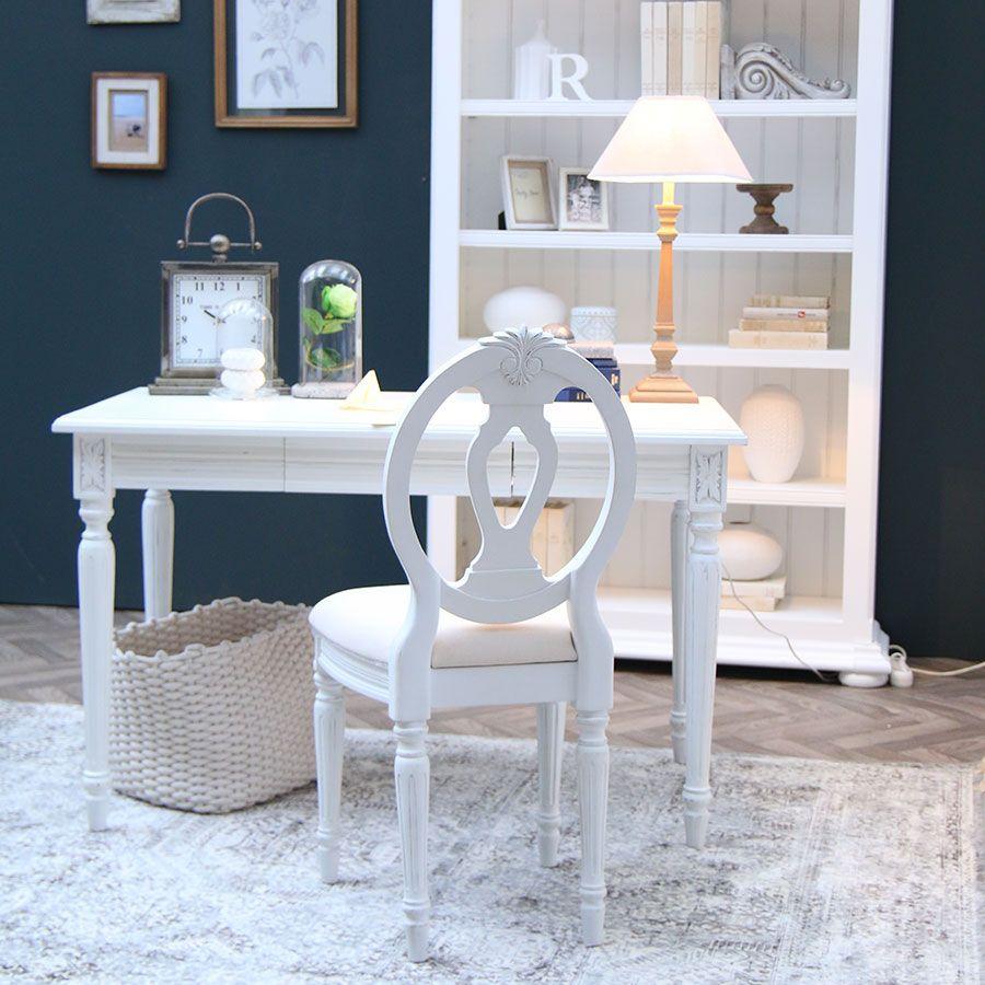 Chaise en tissu et pin massif blanc - Gustavien
