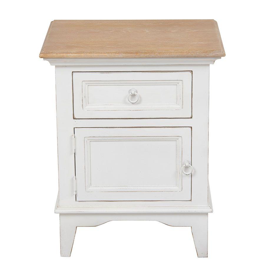 Table de chevet en pin massif blanc - Esquisse