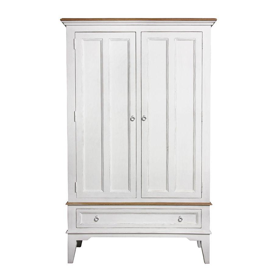 Armoire penderie blanche 2 portes en pin massif - Esquisse