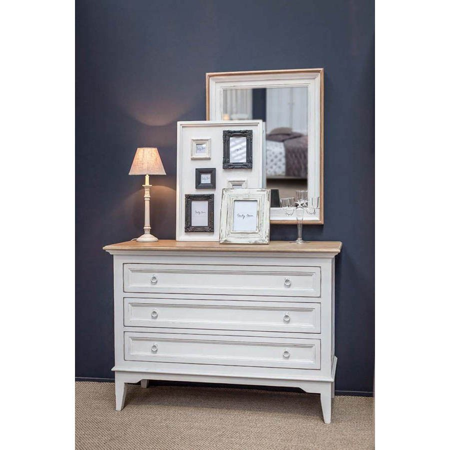 Commode blanche 3 tiroirs en pin massif - Esquisse