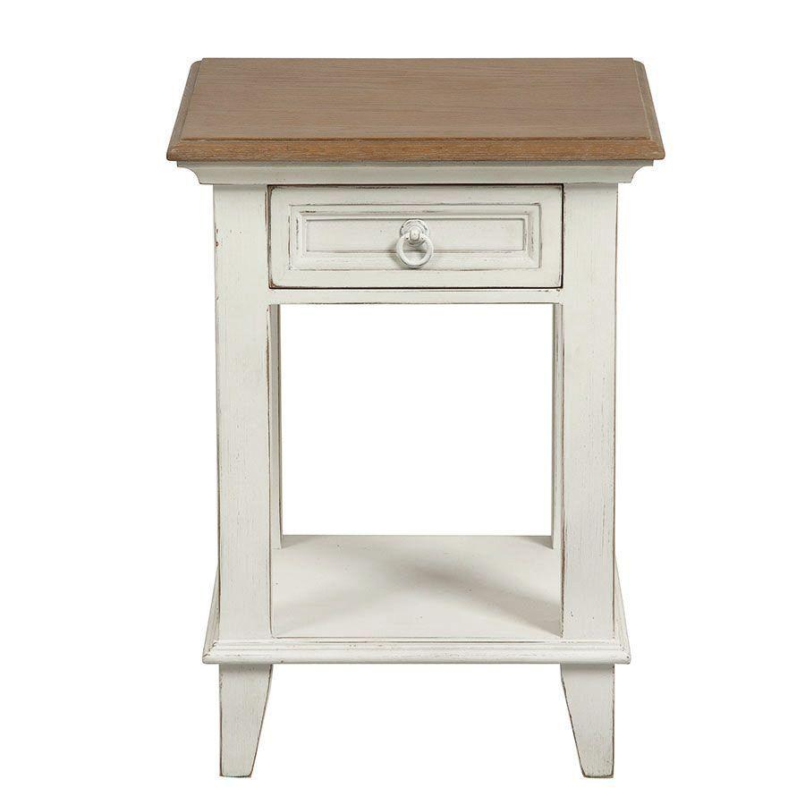 Table de chevet blanche en pin massif - Esquisse