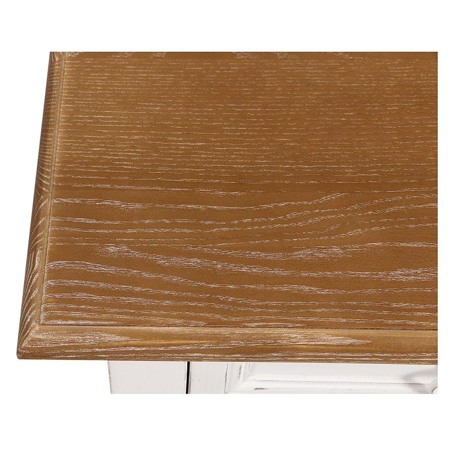 Console 1 tiroir en pin massif blanc vieilli - Esquisse