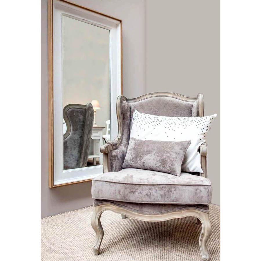 Grand miroir rectangulaire en pin blanc - Esquisse