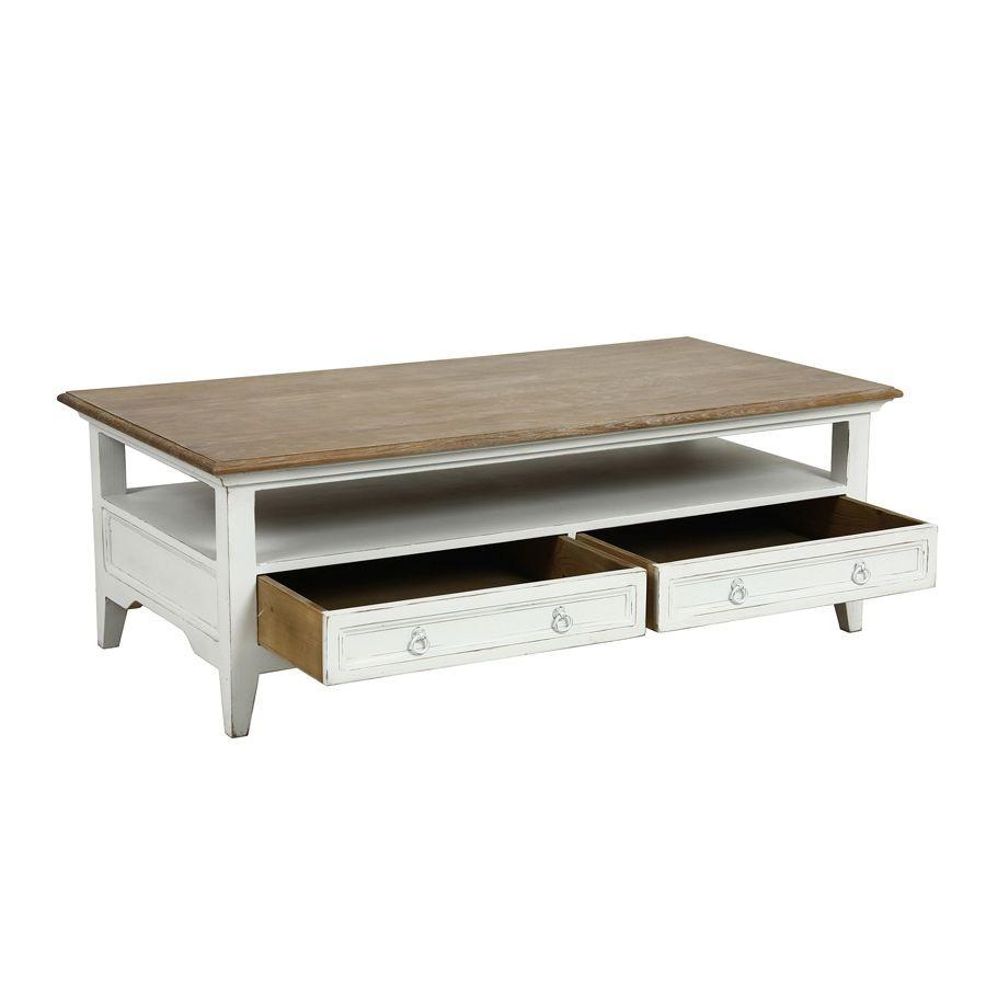 Table basse blanche rectangulaire en pin - Esquisse
