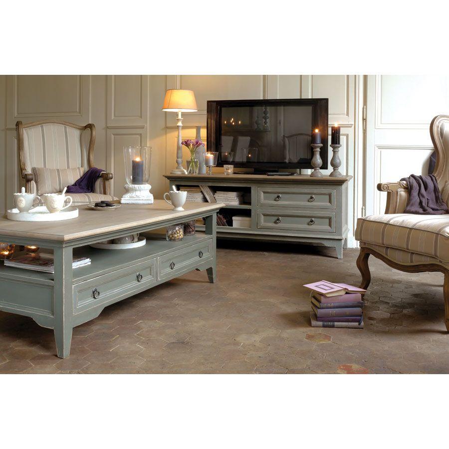 Meuble TV gris 2 tiroirs en pin massif - Esquisse