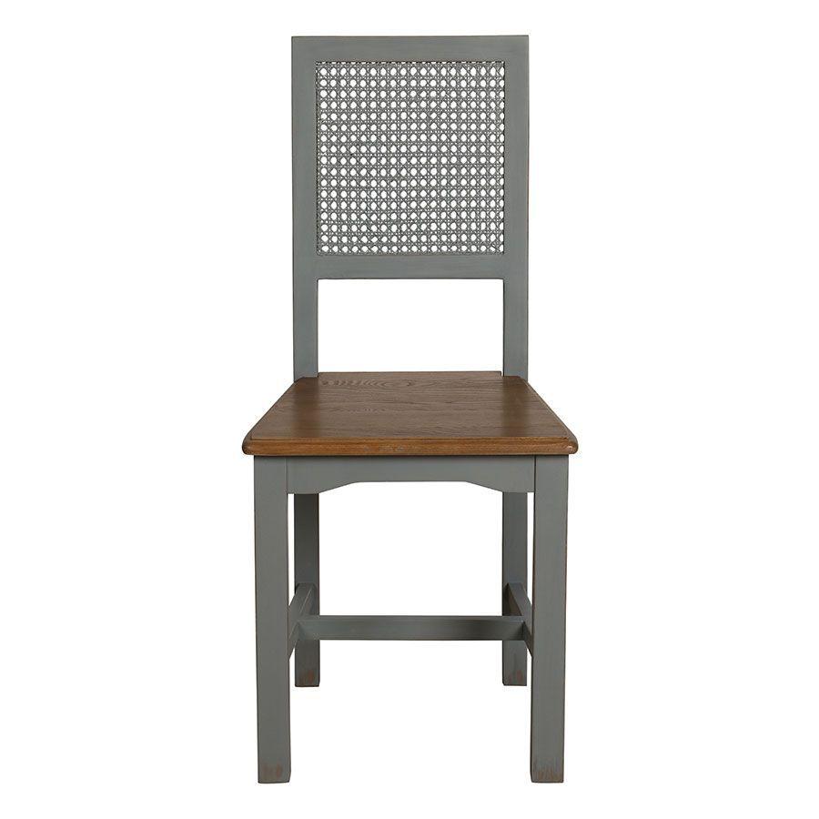 Chaise cannée en pin massif gris - Esquisse