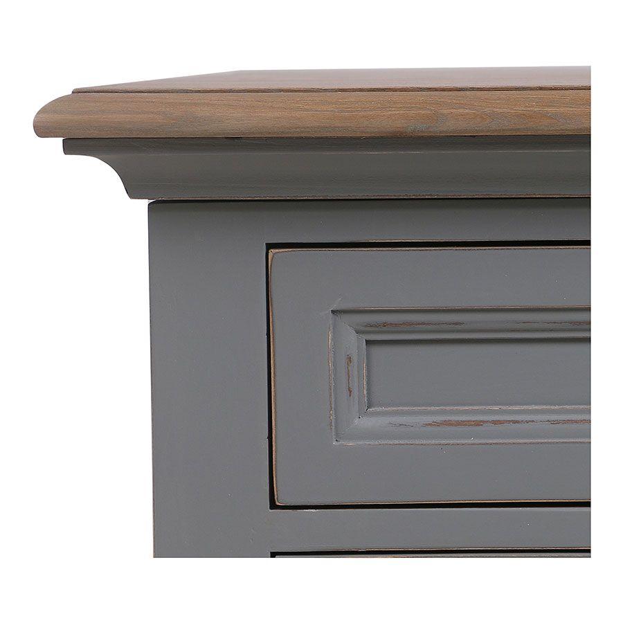 Bureau gris clair 1 tiroir en pin massif - Esquisse