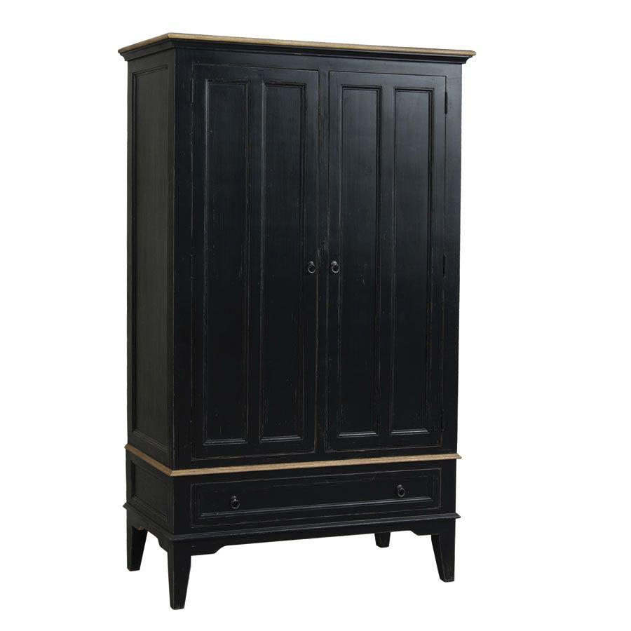Armoire penderie noire 2 portes en pin massif - Esquisse