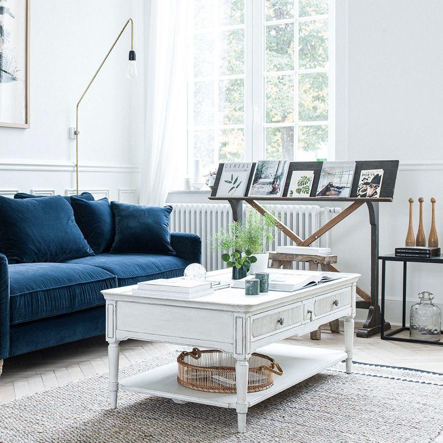 Table basse 4 tiroirs en pin blanc craie – Montaigne