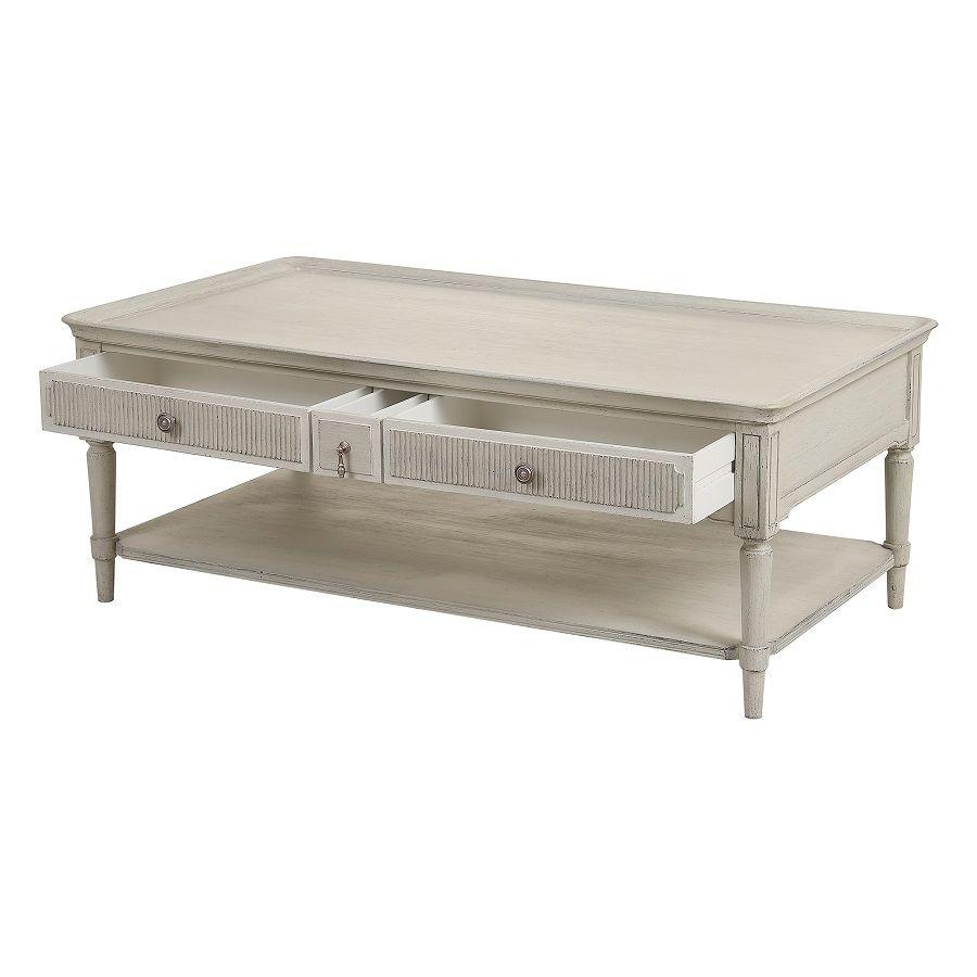 Table basse 4 tiroirs en pin blanc craie - Montaigne