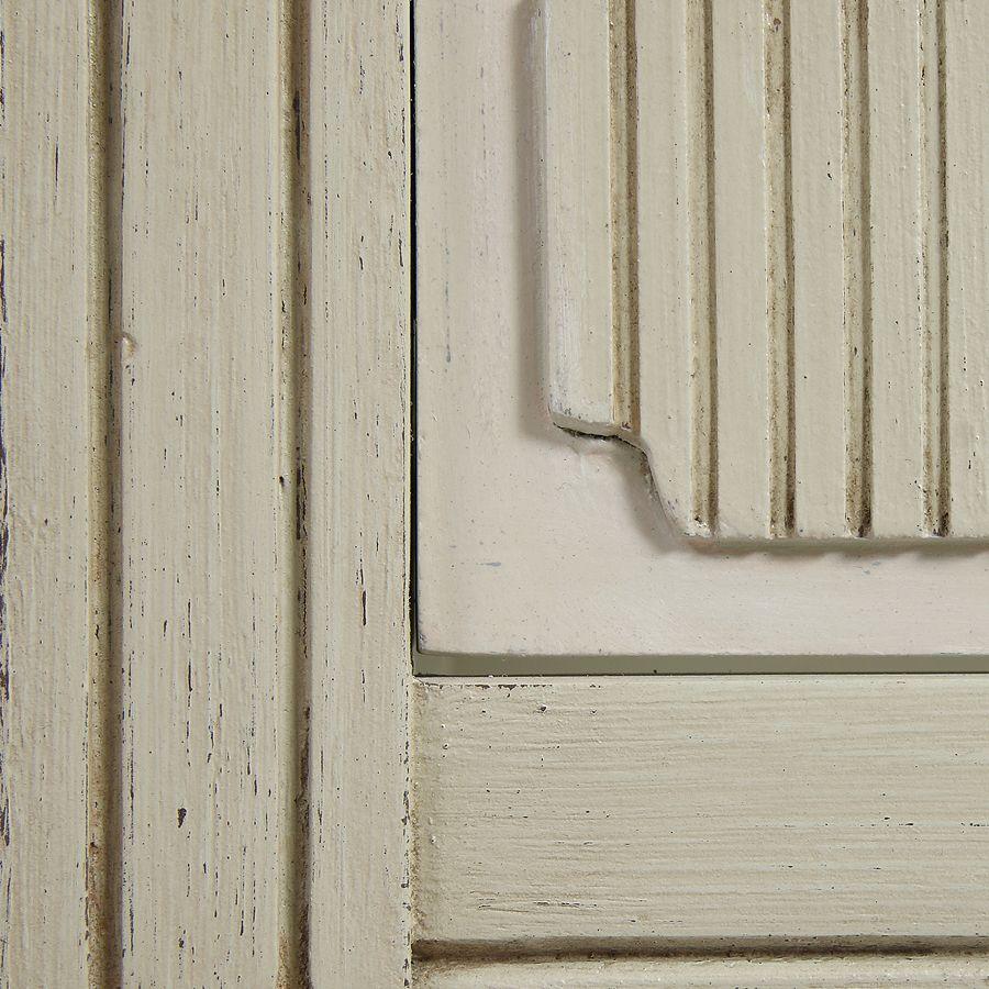 Lit 160x200 en pin blanc craie - Montaigne