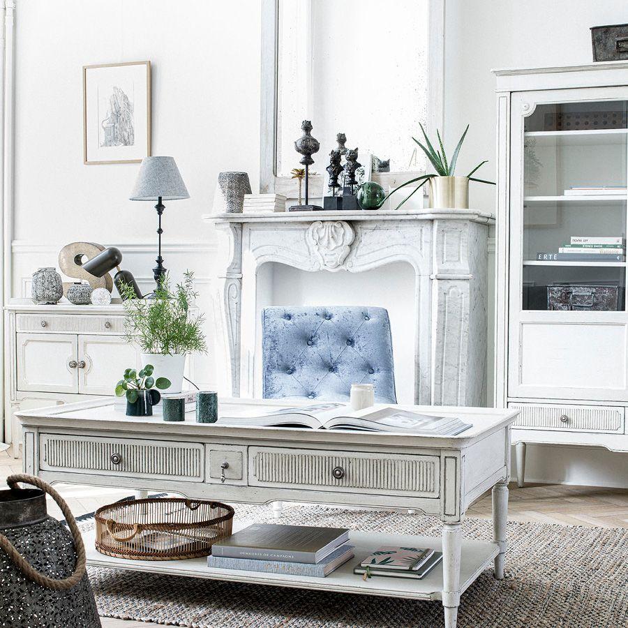 Commodes 2 portes 1 tiroir en pin blanc craie – Montaigne