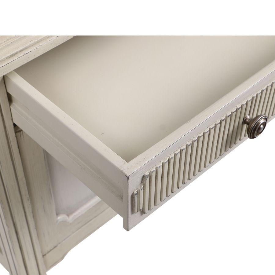 Commode 2 portes 1 tiroir en pin blanc craie - Montaigne