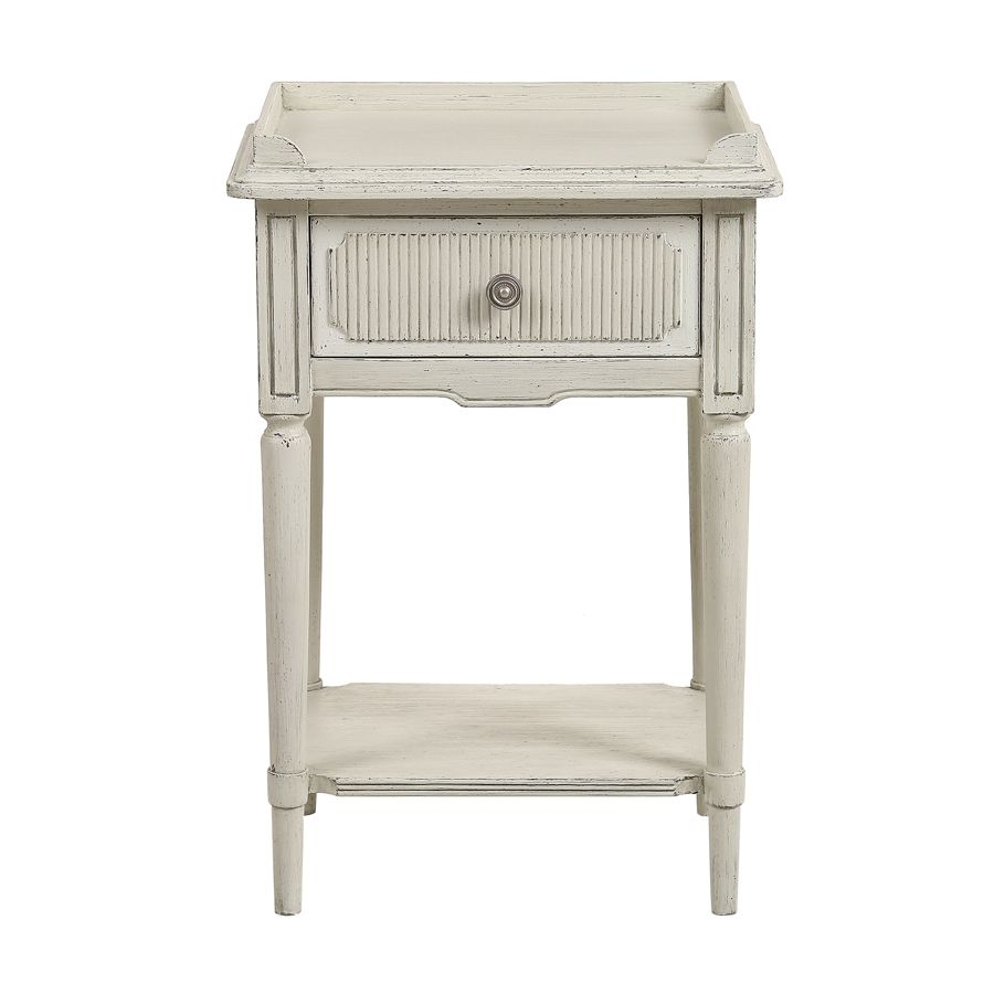 Table de chevet en pin blanc craie - Montaigne