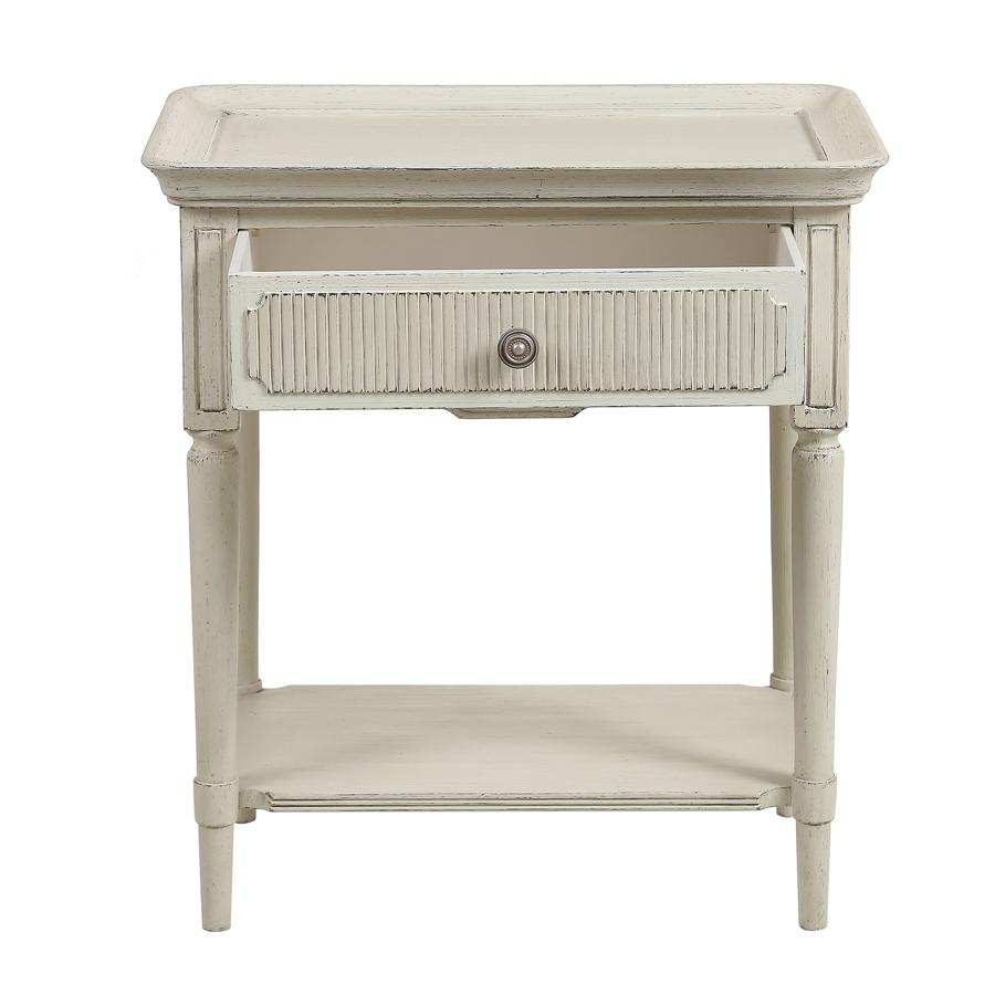 Bout de canapé 1 tiroir en pin blanc craie – Montaigne