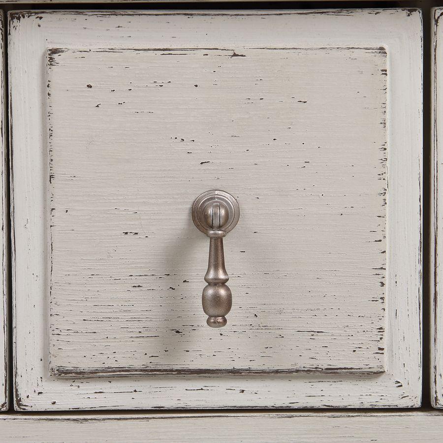 Armoire penderie 2 portes 3 tiroirs en pin blanc craie - Montaigne
