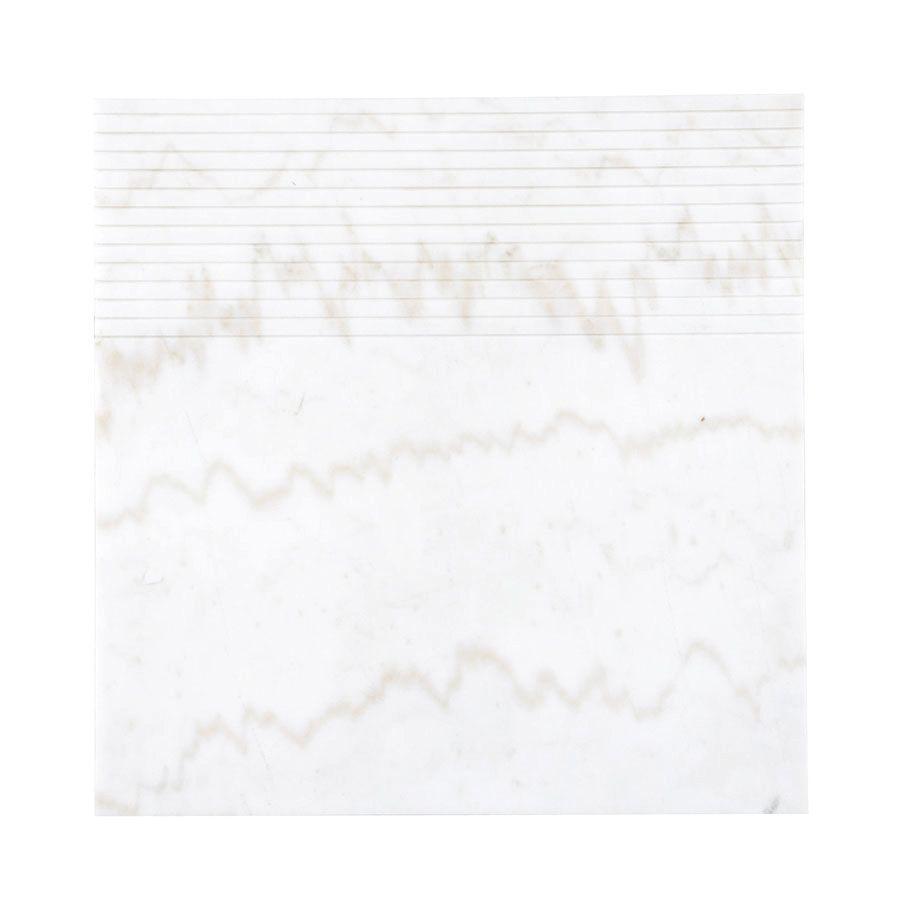 Bout de canapé plateau en marbre blanc - Minéral