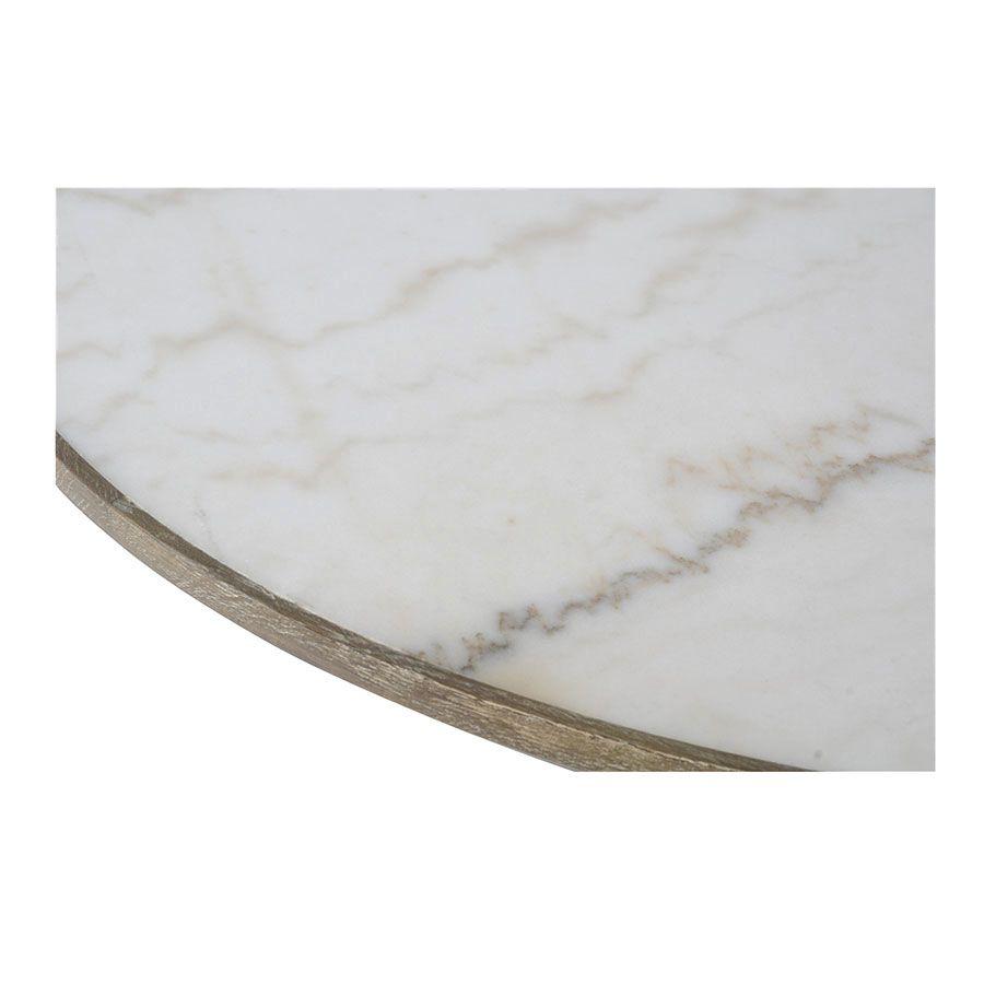 Table ronde plateau en marbre blanc - Minéral