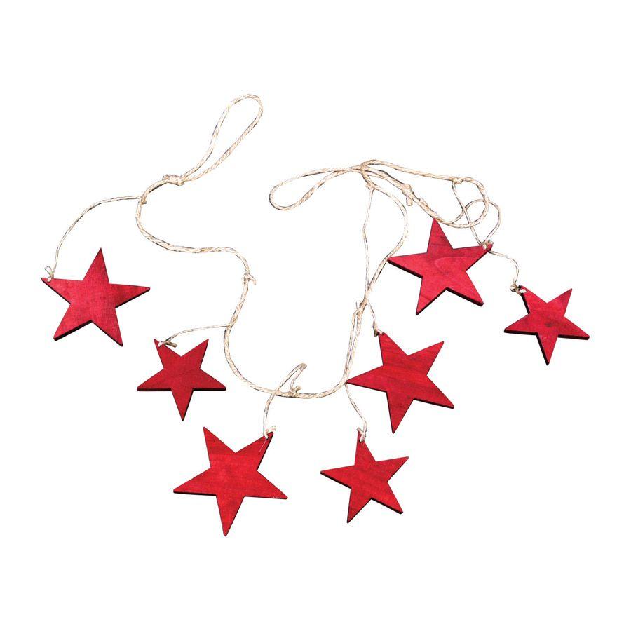 Guirlande en bois rouge motifs étoiles