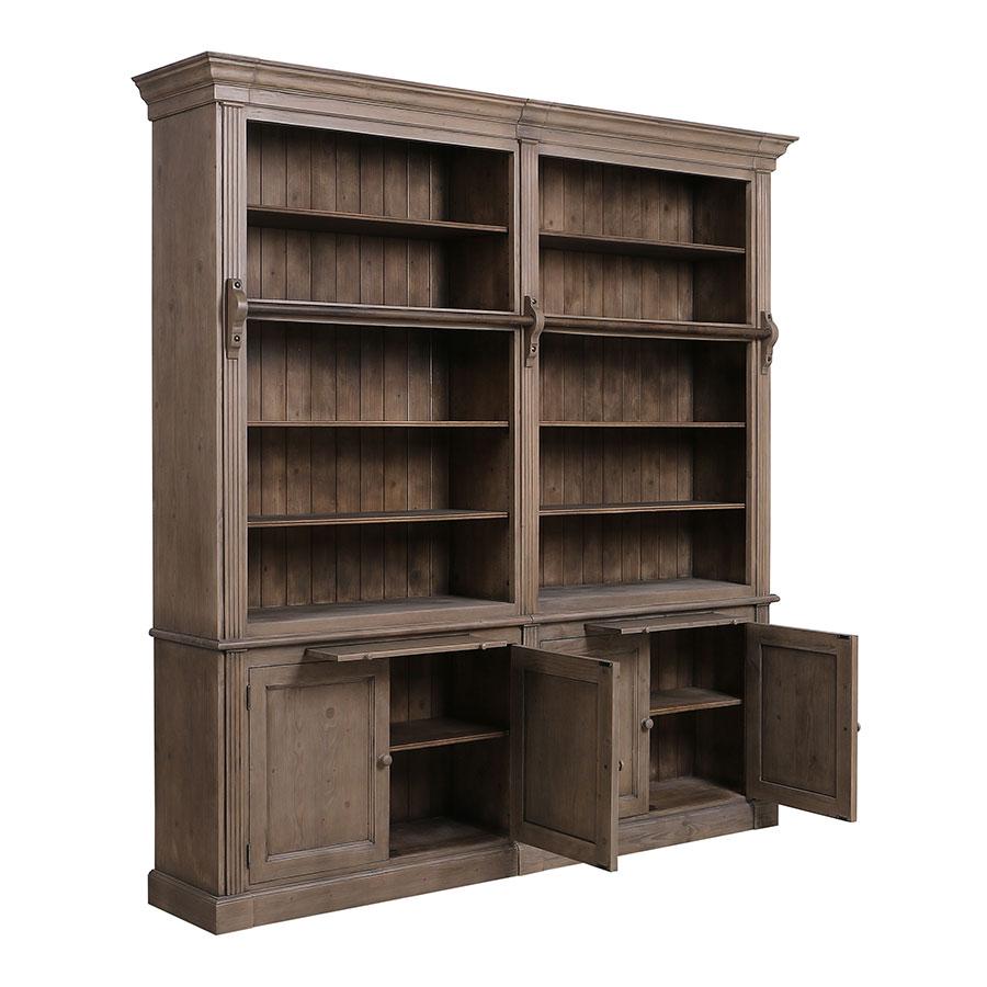 Bibliothèque ouverte 4 portes en épicéa brun fumé grisé - Natural
