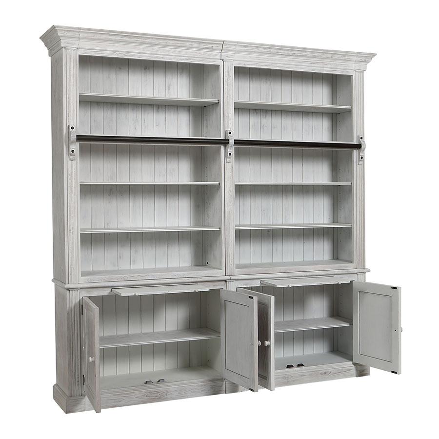 Bibliothèque 2 modules en épicéa massif nuage de blanc - Natural