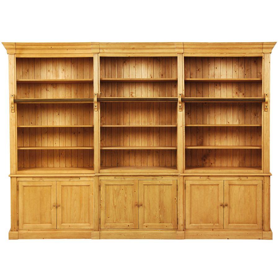Bibliothèque ouverte 6 portes en épicéa - Natural