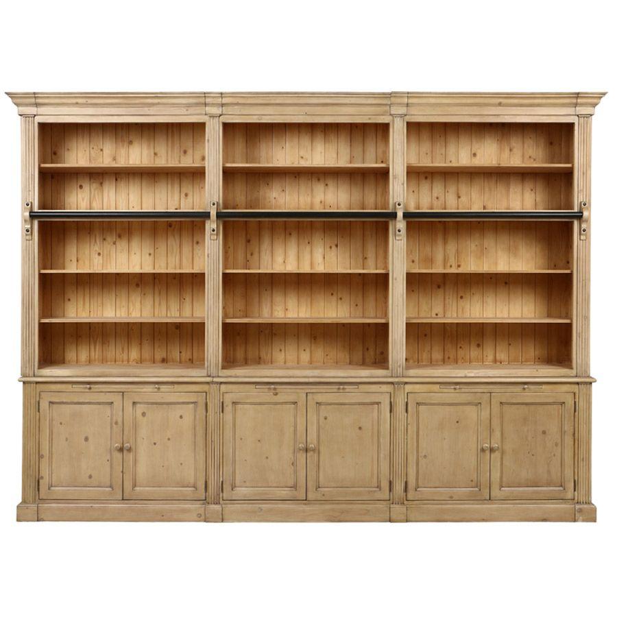 Bibliothèque ouverte 6 portes en épicéa naturel cendré - Natural