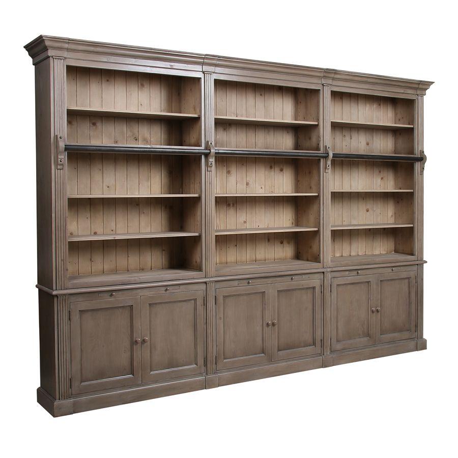 Bibliothèque ouverte 6 portes en épicéa brun fumé - Natural