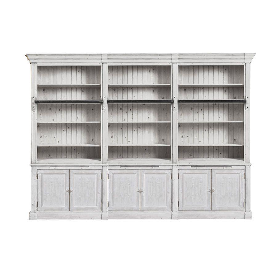Bibliothèque 3 modules en épicéa massif nuage de blanc - Natural