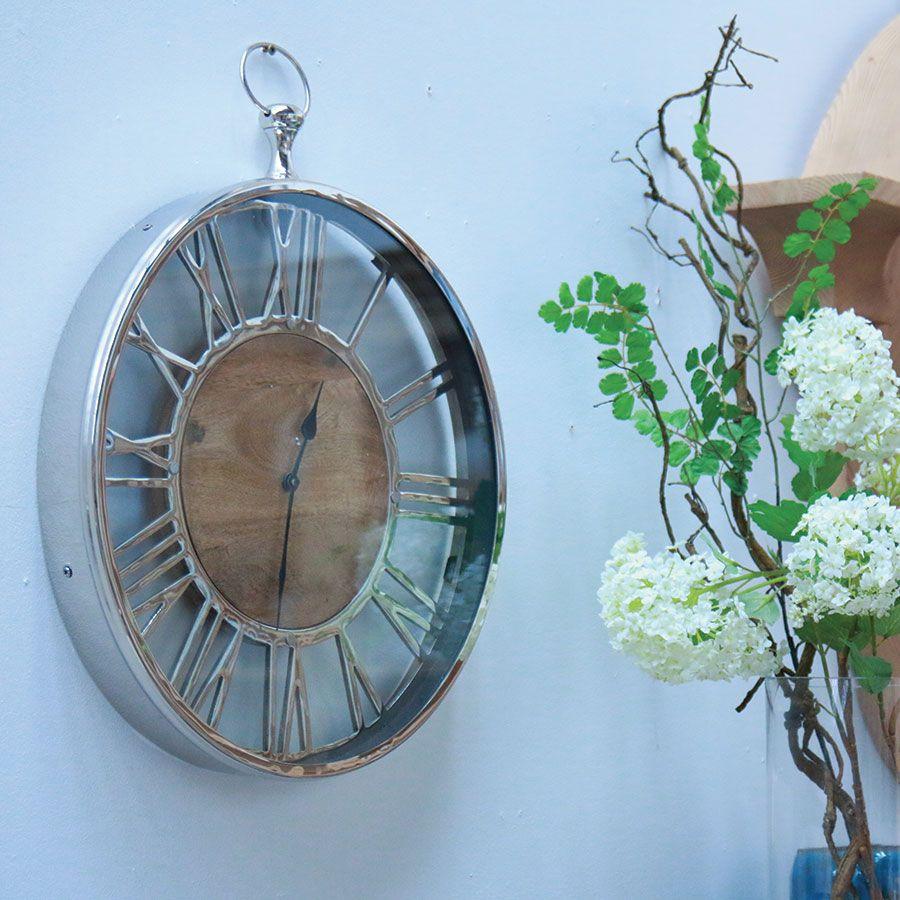 Horloge à gousset en métal chromé