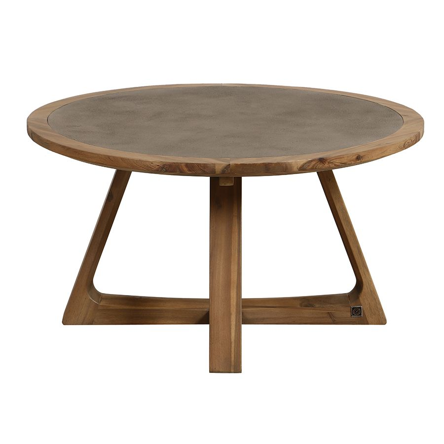 Table basse ronde contemporaine en acacia massif - Organic