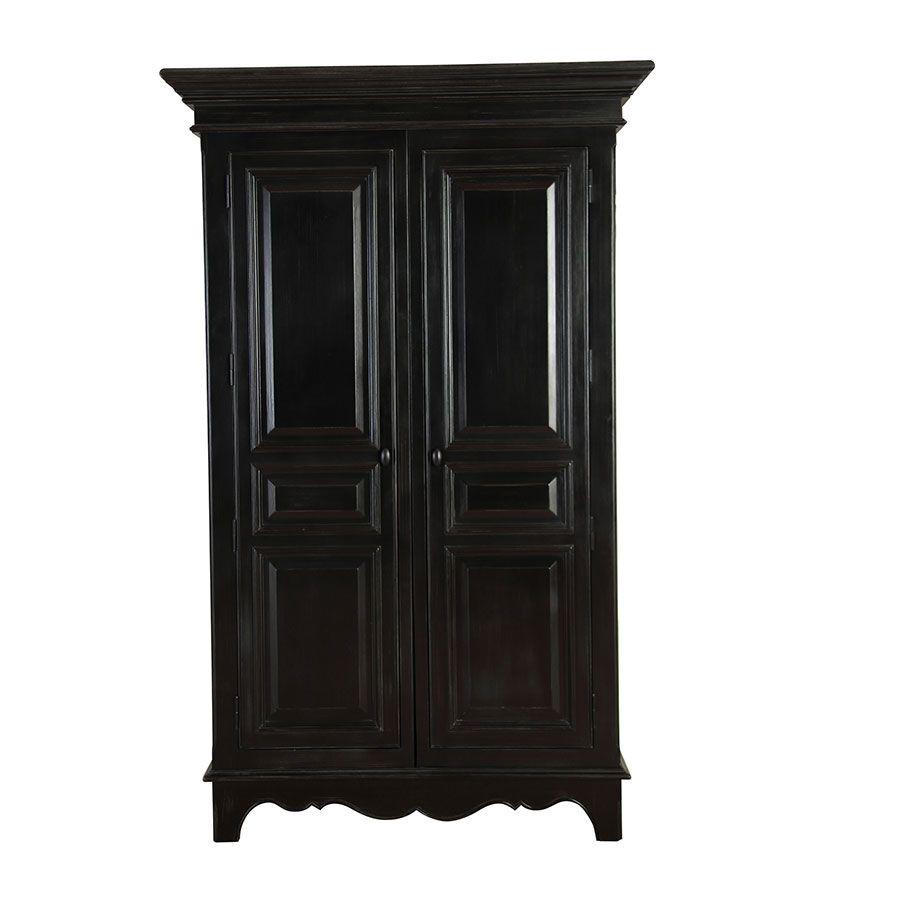 Armoire noire 2 portes en bois - Harmonie