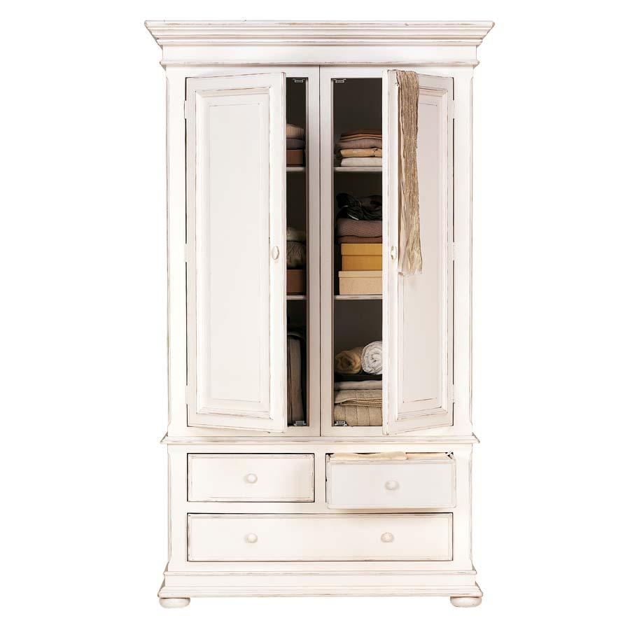 Armoire penderie blanche 2 portes 3 tiroirs - Harmonie