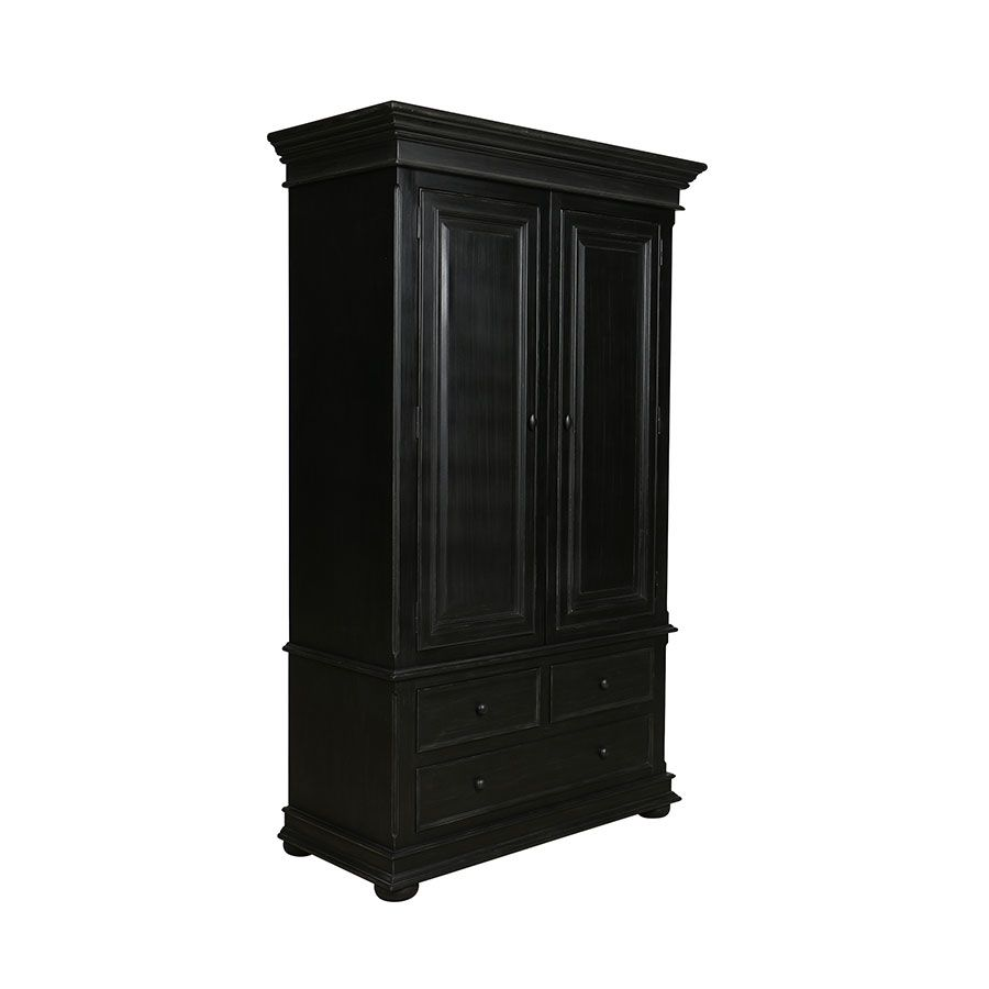 Armoire penderie noire 2 portes 3 tiroirs - Harmonie