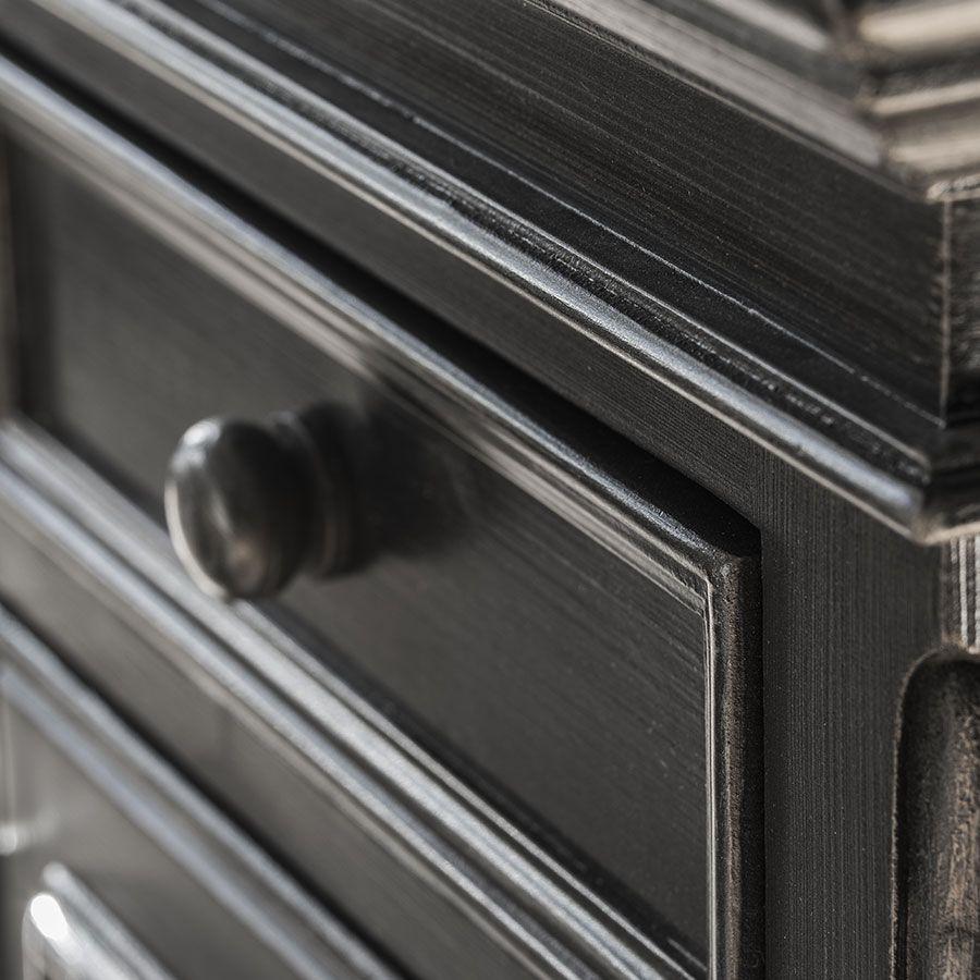 Commode noire baroque 6 tiroirs 3 tirettes - Harmonie