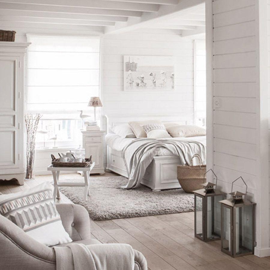 Lit 140x190 avec tiroirs en bois blanc satiné - Harmonie