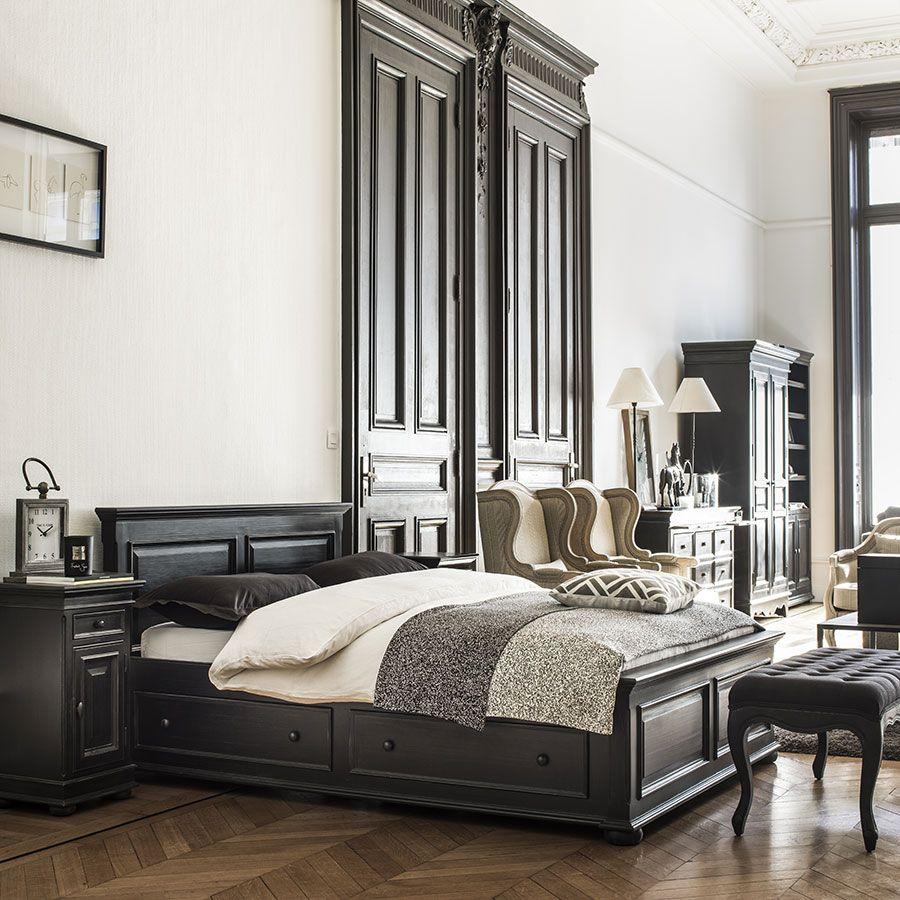 Lit 140x190 avec tiroirs en bois noir - Harmonie