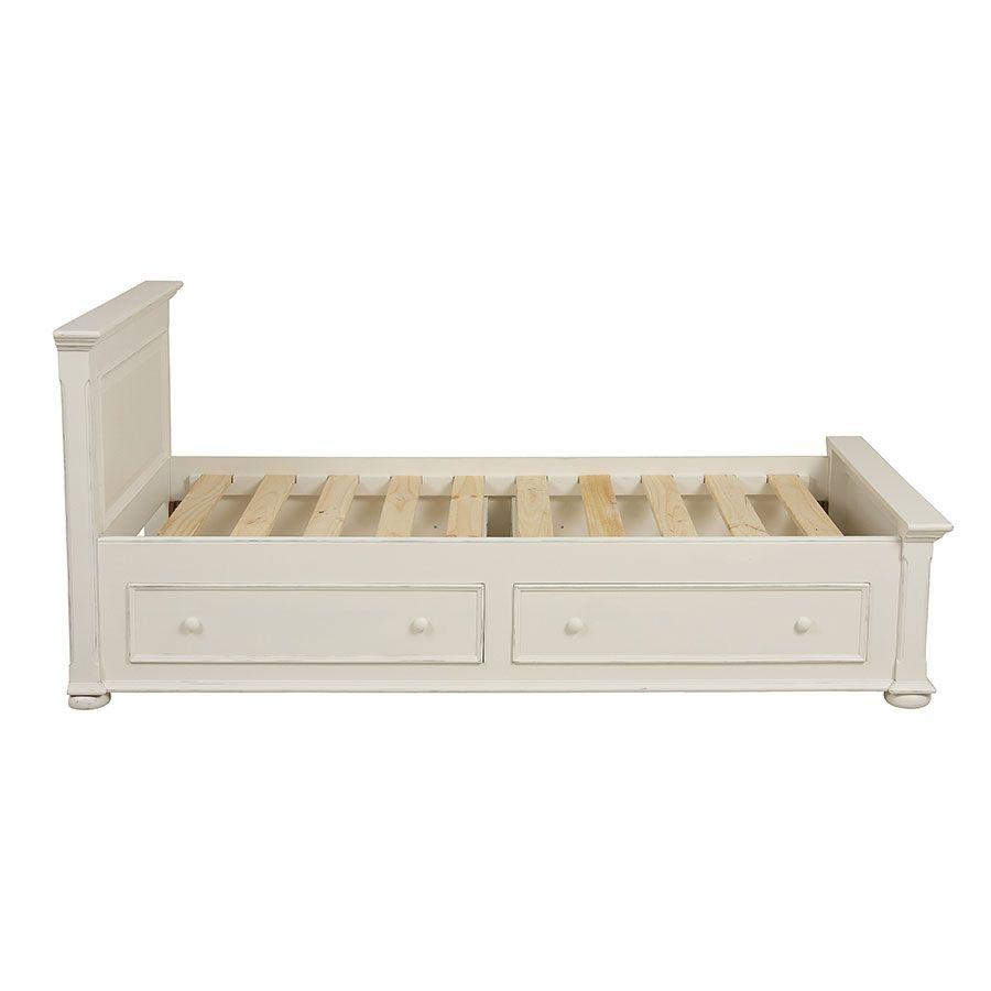Lit enfant 90x190 avec tiroirs en bois blanc satiné - Harmonie