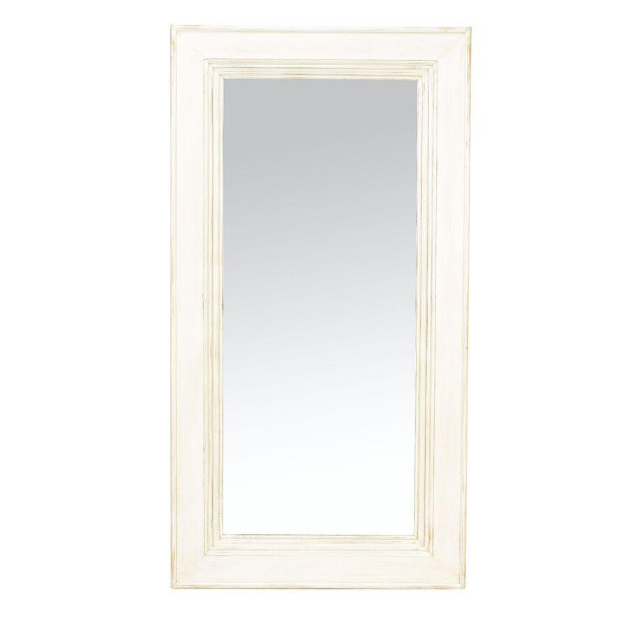 Miroir rectangulaire blanc en bois - Harmonie