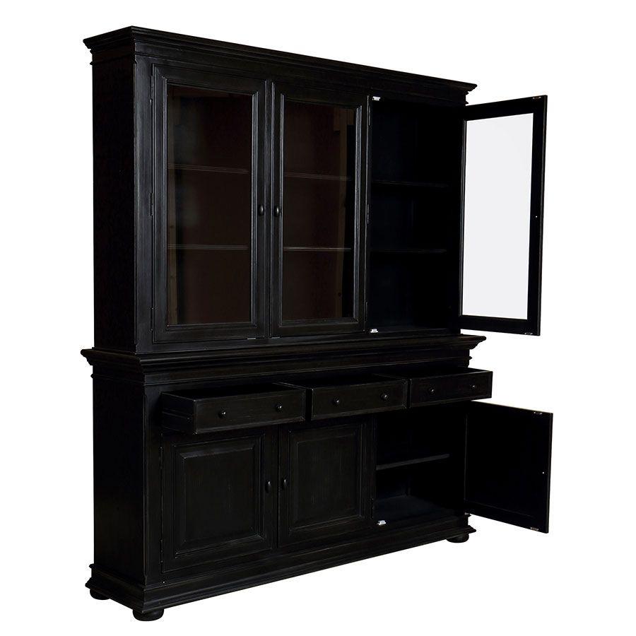 Buffet vaisselier noir 3 portes vitrées - Harmonie