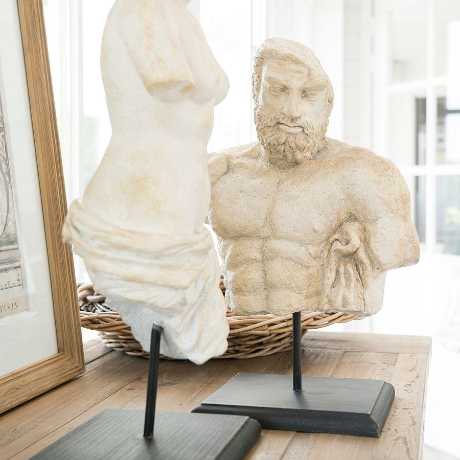 Statuette buste d'homme sur socle en bois