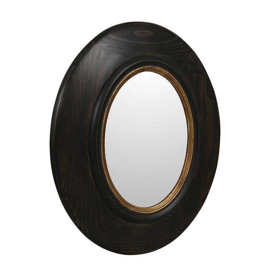 Miroir ovale en pin noir