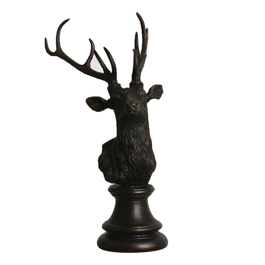 Statue tête de cerf noir patiné