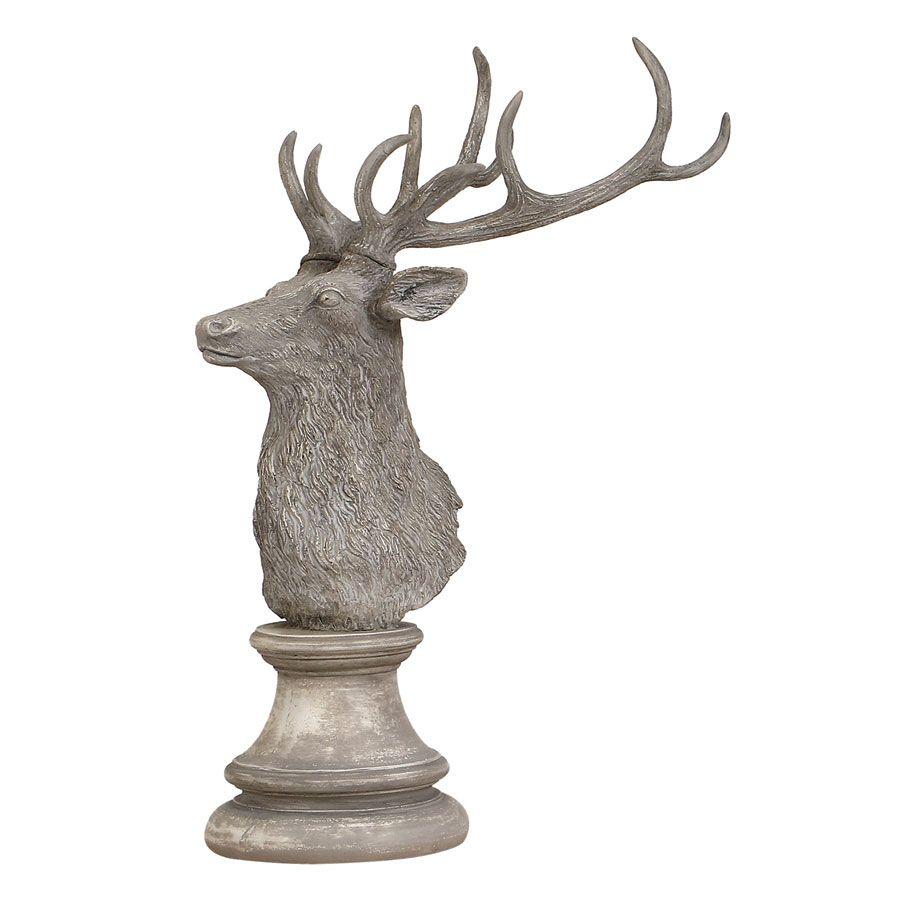 Statue tête de cerf blanc patiné