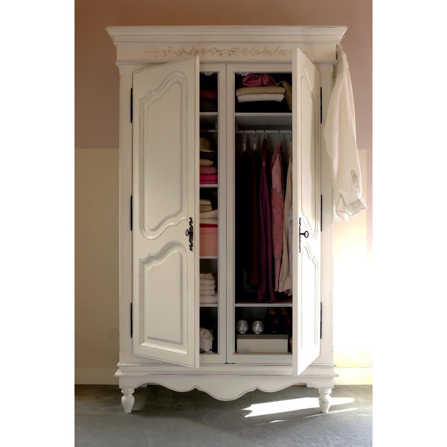Armoire blanche 2 portes en bois - Romance