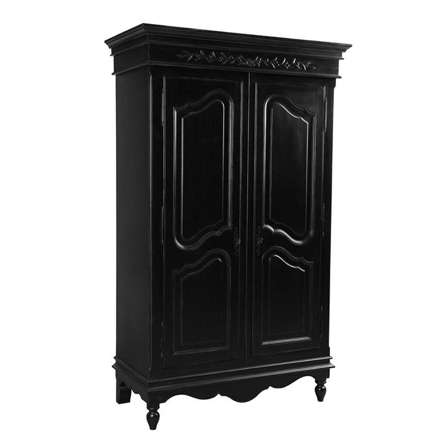 Armoire penderie noire 2 portes en bois - Romance