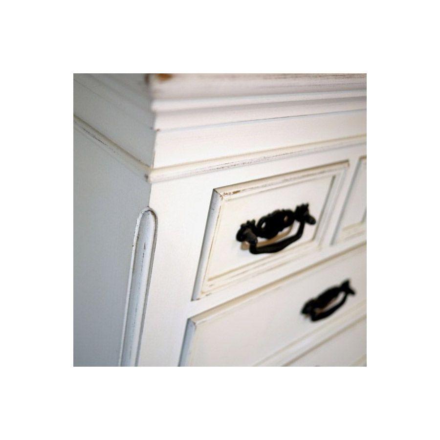 Commode chiffonnier blanche 7 tiroirs - Romance