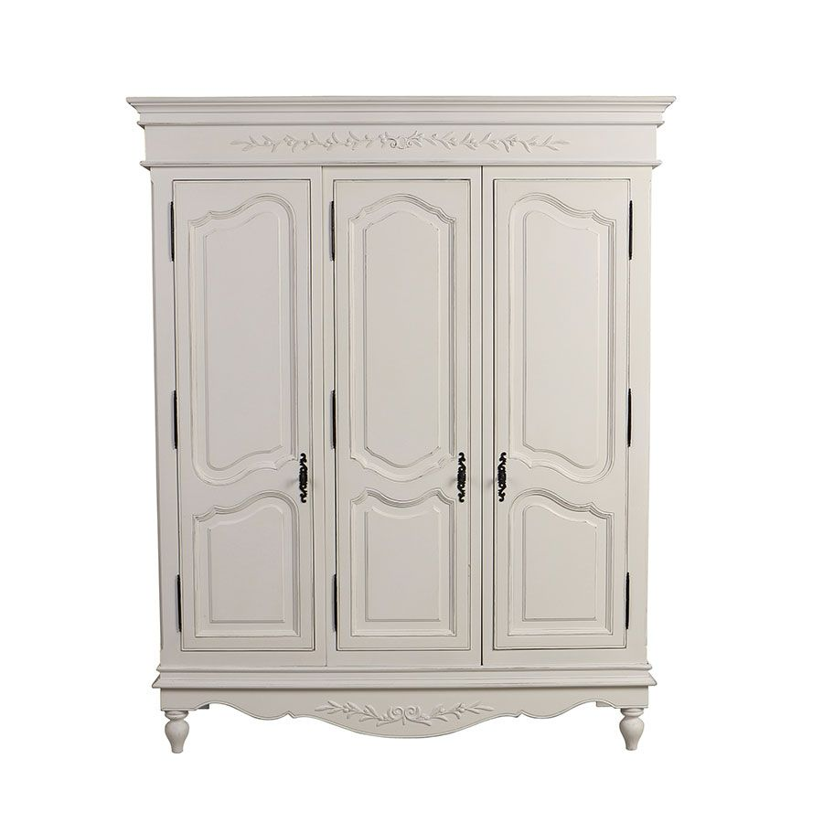 Armoire penderie blanche 3 portes en bois - Romance