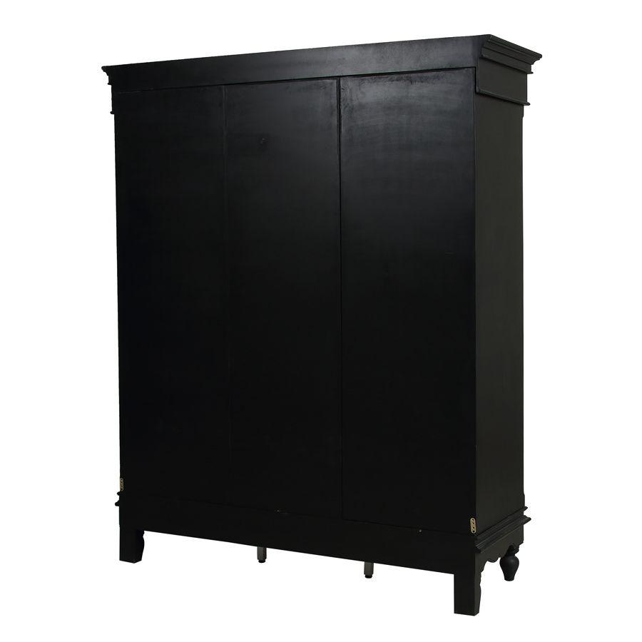 Armoire penderie noire 3 portes en bois - Romance