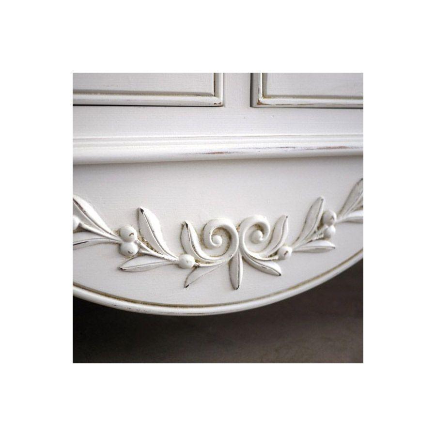 Buffet bas blanc 4 portes en bois - Romance